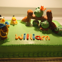 Angry Birds   Birthday cake for my son's 6th birthday. Combo of fondant, RKT and Nutty Bars for decorations