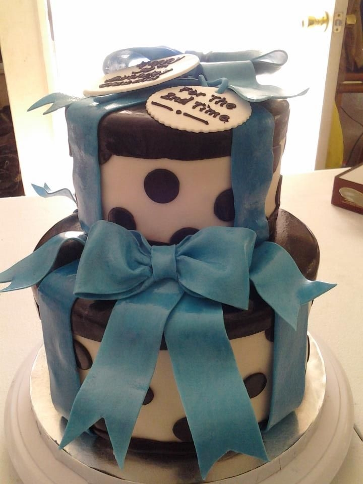 Black And White Polka Dot Present Cake With Blue Ribbons *Black and White Polka Dot Present Cake with Blue Ribbons