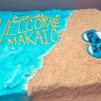 Beach Baby Shower Hawaiian themed baby shower. The sandals have the baby to be's hyphenated last name on themthanks to