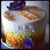 Orange Ombre Cake With Deep Purple Roses The customer wanted a cake with flowers and color to surprise his girfriend at work. I've been seeing ombre cakes around the web...
