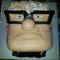 The Old Man From Up He is carved from a square cake. frosted with butter cream and accented with fondant decorations.