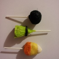 Halloween Cake Pops From top to bottom just a normal cake pop sugared, a witches broom, & a candy corn