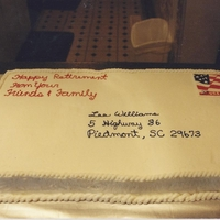 Lee's Retirement Cake Double 12x18 sheet cakes in buttercream with color flow stamp... they are still trying to figure out how I created the stamp so perfectly...