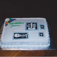Xray Tech Graduation Cake Buttercream..... the xrays were made using color flow...