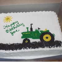 Handrawn Tractor Cake For Joe W. Buttercream with chocolate sprinkles for the garden dirt