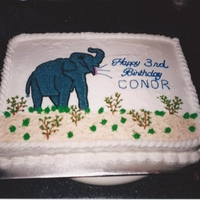 Elephant Birthday Cake 2002 Buttercream with hand drawn elephant