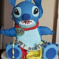 Stitch 40Th Birthday Cake 40th birthday cake for my husband whose nickname is Stitch. Madeira cake filled with jam & covered in fondant.