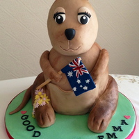 Emma's Kangaroo Cake made for someone departing for a new job in Australia for a year. The body of the kangaroo is cake and the head & legs are RKT....