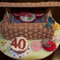 40Th Birthday Picnic Basket Madeira cake filled with jam & buttercream and then covered in sugarpaste basket weave. That took a LONG time!! Flowers are handmade...