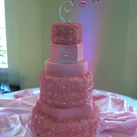 Pink Sparkle Roses Mixed Shape Wedding Cake