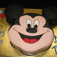 Mickey Mouse 2-D Mickey mouse cake covered in Buttercream
