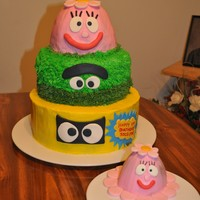 "Yo Gabba Gabba 1St Birthday I was asked by a friend to make this cake for her daughter's 1st birthday. It's a 10"", 8"" & 6"" cake (the top..."