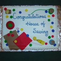 Sewing Theme Half sheet -- half vanilla, half white chocolate raspberry -- was asked to do a sewing them for a children's sewing group. All...
