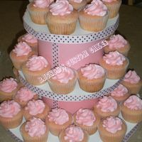 Pink Lemonade Cupcakes With homemade cupcake stand