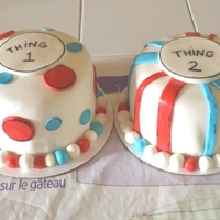 Thing 1 And Thing 2 Baby Shower Cakes These were display cakes for a baby shower where they served their own cupcakes.