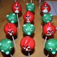 Angry Birds Cake Pops Cake pops in the shape of red angry bird and pig