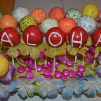 Hawaiian Aloha Cake Pops We had an order for Hawaiian themed cake pops and used flowers from a lei to put on the sticks