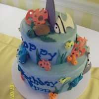 Finn's Birthday Cake Buttercream icing with fondant and gumpaste details
