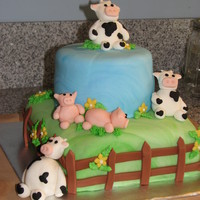 Farm First Birthday   My son's first birthday cake. Everything is fondant.