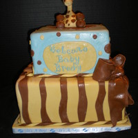 Giraffe Baby Shower 12 inch and 8 inch square cake with fondant giraffe