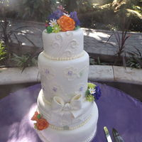Allie's Wedding Cake 12, 10, double barrel 8, and 6 inch cakes