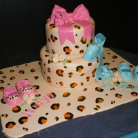 Leopard Shower Cake 6 and 8 in tiers hand painted leopard print for twin baby shower