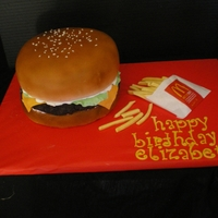 Hamburger And Frys I did this cake for Icing Smiles. I can't wait to do one again.