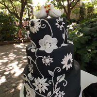 Black And White Wedding Cake Black and white cake with love doves on dummy cakes for my first bridal fair