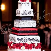 "Heather 6-8-10-12-14-16 square tiers. 6-8-16 were faux. 10"" pink champagne with vanilla buttercream filling. 12"" red velvet with cream..."