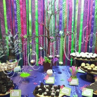 Fairy Princess Dessert Table   Fairy Princess themed dessert table for 50 people. Custom ribbon backdrop. Cupcakes hung from tree centerpiece