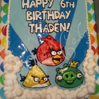 Thaden's Angry Birds 9x13 marbeled cherry & chocolate fudge cake. BC icing. Decorations piped on with royal icing.