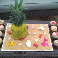 Maddie's Pineapple This is a pineapple cake I made for my neice's luau birthday party. The top is from a real pineapple. The sand is brown sugar, the...