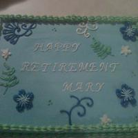 Mary's Retirement This cake is all decorated in BC to coordinate with the napkins.