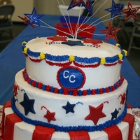 All American Classical Conversations Celebration! 3 layered cake with white chocolate stars.