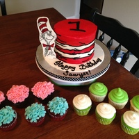Smash Cake For A 1 Year Old Cat In The Hat Themed Birthday Party With 4 Dozen Multi Coloredflavored Cupcakes Smash cake for a 1 year old Cat in the Hat themed birthday party with 4 dozen multi-colored/flavored cupcakes.