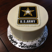 Army Retirement Cake White Cake With Strawberry Filling And Vanilla Buttercream Edible Image For The Top Army retirement cake. White cake with strawberry filling and vanilla buttercream. Edible image for the top.