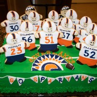 Spartans Defensive Line Dinner Party Each player was made into a personalized cookie, then stuck into a simple sheet cake. Who knew high school boys would be so 'giddy&#...