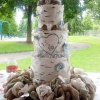Birch Bark Butterflies Birds And Burlap  The request was for a birch bark wedding cake. the bride's theme included birds and burlap. So in keeping with the theme, I made a...