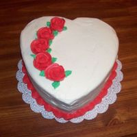 Valentines Day Red Velvet cake with Cream Cheese Icing and BC roses.