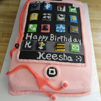 I-Phone Sheet cake iced inbuttercream with fondant buttons and earphones.