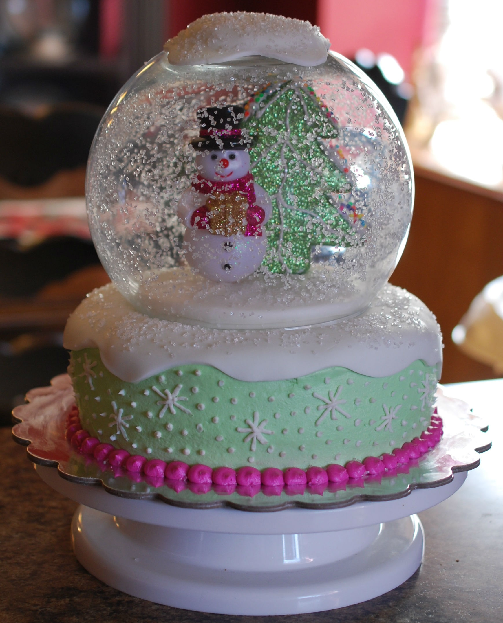 Snow Globe Cake   white chocolate cake with peppermint buttercream icing