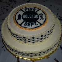 Fire Department Retirement Cake   white chocolate cake with buttercream icing - patch is a frozen buttercream transfer