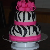 Zebra Baby Shower Cake   white cake, buttercream frosting, decorated in fondant