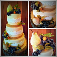Harvest Collage Cake for a rustic themed wedding adorned with sugared fruit.