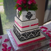 Fuschia & Damask 3 tiered square with Damask stencil and fuschia accents.