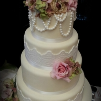 Vintage Pearls 4 tier cake inspired by Cotton & Crumbs, such beautiful cakes!