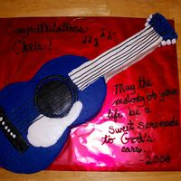 "Guitar Graduation Cake This is the cake I made for one of our graduates at church. He loves music, but especially his guitar. I used a 10"" round, 8""..."