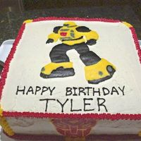 Transformers - Bumblebee This cake was done for a Transformer fanatic. Bumblebee & the Transformer logo were FBCT's. One chocolate layer & one vanilla...