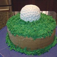 Golf A golf ball on a bed of grass. Chocolate cake with Chocolate icing. Regular BC for the grass & fondant for the golf ball. Thanks to all...