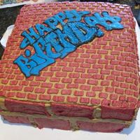 Graffiti On A Brick Wall Graffiti on a brick wall cake made for my nephew who loves drawing graffiti. Inspired byGranpam for the brick work. Happy Birthday was a...